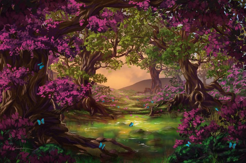 digital-art-beautiful-purple-forest-trees-Favim.com-600931